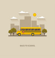 school bus flat with city landscape vector image