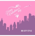 Valentine card city landscape with skyscrapers vector image