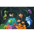 Scene with sea animals underwater vector image