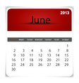 2013 calendar June vector image
