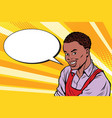 worker in apron says the comic book bubble vector image vector image