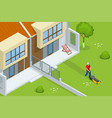 man mowing the lawn with yellow lawn mower in vector image vector image