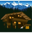 wooden chalet in mountain alps at night vector image