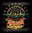 Bright cover for fast food menu hamburger vector image