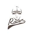 head of racer vintage design template vector image