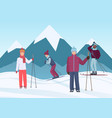 a group of people riding skies in the mountains vector image