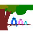 bird family with tree vector image