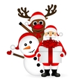 Santa Claus with snowman and reindeer cartoon vector image