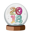 snow globe with 2018 isolated vector image