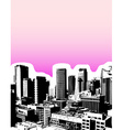 Sunrise in the city with skyscrapers vector image