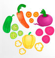 Vegetables whole and sliced into pieces vector image
