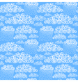 Blue sky with hand drawn stylize cute curly clouds vector image