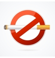No Smoking Sign with Realistic Cigarette vector image