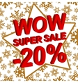 Winter sale poster with WOW SUPER SALE MINUS 20 vector image