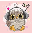 Owl with headphones and hearts vector image
