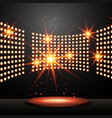 podium with lights and shining stars vector image