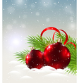 Two shining red decorations in snow vector image