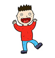 comic cartoon crazy happy man vector image