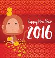 Monkey Happy New Year 2016 Card vector image