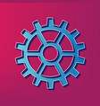 gear sign blue 3d printed icon on magenta vector image