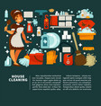 house cleaning service promotion with equipment vector image