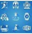 Marine elements white icons vector image
