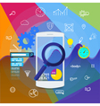 Mobile app search information analytics vector image
