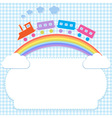 Frame with colorful train on rainbow vector image vector image