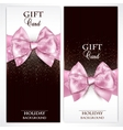 Gorgeous gift cards with pink bows and copy space vector image vector image
