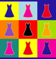beautiful long dress sign pop-art style vector image