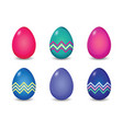 set of solid and line pattern painted easter eggs vector image