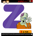 letter z for zombie cartoon vector image vector image