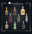 alcoholic drinks hand drawn collection vector image