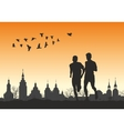 Two runners on the horizon for city vector image