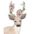 Cute hipster deer with flowers on his horns vector image vector image
