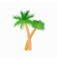 Two palm trees icon cartoon style vector image