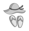 Beach hat with flip-flops icon in monochrome style vector image