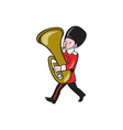 Brass Band Member Playing Tuba Cartoon vector image