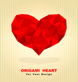Red origami heart vector image