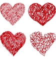 Red pen hand drawn hearts set vector image