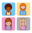 set of cartoon people avatar man and woman profile vector image
