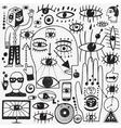 eyes doodles set vector image