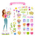beautiful woman holds spring bouquet in round box vector image