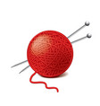 yarn ball needles isolated vector image