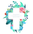 Easter watercolor natural with cross sticker vector image vector image