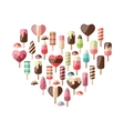 Heart made in Set Different Colorful Ice Cream vector image