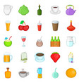 boozing icons set cartoon style vector image