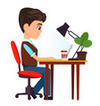 businessman sitting with laptop at his desk vector image