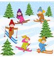 children skiing on snow mountain vector image