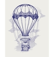 Hot air balloon ball pen sketch vector image
